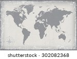 grunge world map.old vector... | Shutterstock .eps vector #302082368