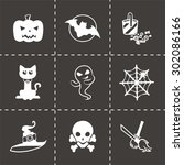 vector halloween icon set on... | Shutterstock .eps vector #302086166