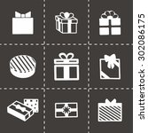 vector gift icon set on black...
