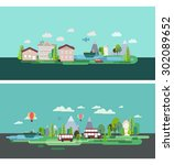 flat design nature landscape... | Shutterstock .eps vector #302089652