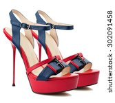 red and blue women shoes... | Shutterstock . vector #302091458