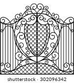 wrought iron gate  door  fence | Shutterstock .eps vector #302096342