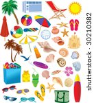 beach items vectors | Shutterstock .eps vector #30210382