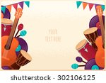 template with guitar ... | Shutterstock .eps vector #302106125