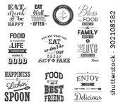 set of vintage food typographic ... | Shutterstock .eps vector #302108582