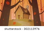 cabin in woods   autumn | Shutterstock .eps vector #302113976
