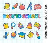 back to school vector icon set | Shutterstock .eps vector #302114135