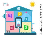 smart home concept vector... | Shutterstock .eps vector #302114216