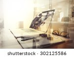office workplace with laptop... | Shutterstock . vector #302125586