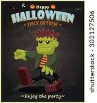 vintage halloween poster design | Shutterstock .eps vector #302127506