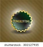 powerlifting shiny badge | Shutterstock .eps vector #302127935