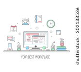 workplace vector illustration | Shutterstock .eps vector #302133536