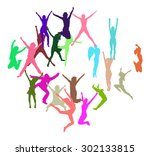 people jumping win win  | Shutterstock .eps vector #302133815