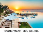 sunset at dead sea viewed from... | Shutterstock . vector #302138606