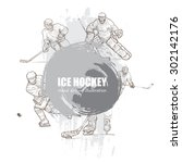 illustration of ice hockey. | Shutterstock .eps vector #302142176