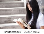 portrait of a young woman...   Shutterstock . vector #302144012