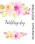 watercolor greeting card... | Shutterstock . vector #302147846