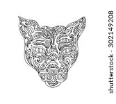 wild cat head coloring page | Shutterstock . vector #302149208