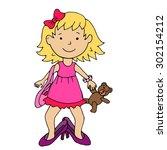 little girl in mother's high... | Shutterstock .eps vector #302154212