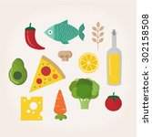 isolated vector food... | Shutterstock .eps vector #302158508
