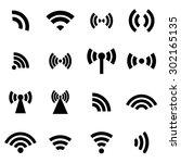vector black wireless icons set.... | Shutterstock .eps vector #302165135