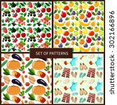 set of four seamless patterns   ... | Shutterstock .eps vector #302166896