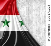 syria flag of silk with... | Shutterstock . vector #302171225