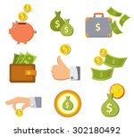 vector money  money  coins ... | Shutterstock .eps vector #302180492