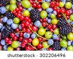 berries background.antioxidants ... | Shutterstock . vector #302206496