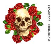 skull with roses hand drawn... | Shutterstock .eps vector #302209265