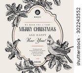 vintage vector card. we wish... | Shutterstock .eps vector #302243552