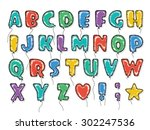 hand drawn alphabet in the form ... | Shutterstock .eps vector #302247536