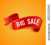 big sale banner. red realistic... | Shutterstock .eps vector #302255342
