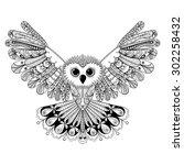 Zentangle Stylized Black Owl....