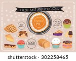 dessert menu  poster or...   Shutterstock .eps vector #302258465