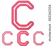 crimson line c logo design set