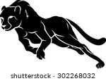 Stock vector fast cheetah run silhouette 302268032