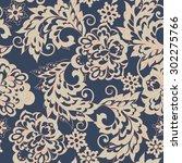 ethnic flowers seamless vector... | Shutterstock .eps vector #302275766