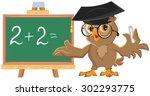 owl teacher leads math lesson....   Shutterstock .eps vector #302293775
