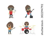 band of musician  isolated on... | Shutterstock .eps vector #302294792