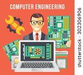 computer engineering flat... | Shutterstock .eps vector #302306906