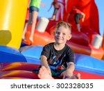 smiling happy barefoot little...   Shutterstock . vector #302328035