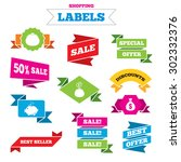 sale shopping labels. happy... | Shutterstock .eps vector #302332376