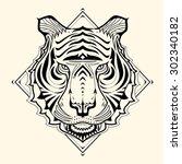 tiger zentangle design vector... | Shutterstock .eps vector #302340182
