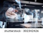 double exposure of businessman... | Shutterstock . vector #302342426