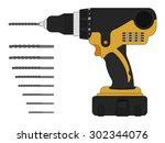 electric drill and bits.... | Shutterstock .eps vector #302344076
