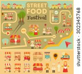 street food on city map. food... | Shutterstock .eps vector #302345768