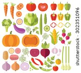 vegetables flat icons set.... | Shutterstock .eps vector #302351096