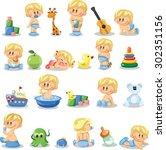 vector illustration of baby... | Shutterstock .eps vector #302351156
