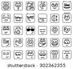Set Vector Square Smileys With...